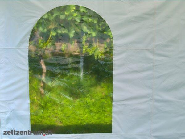 Faltzelt weiss mit Seitenwänden Rundbogenfenster