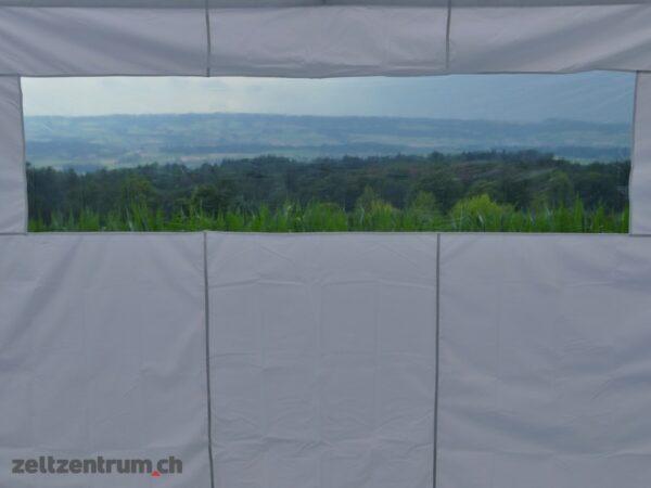 Faltzelt weiss mit Seitenwänden Panoramafenster