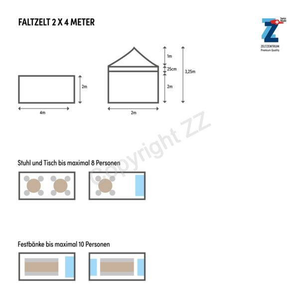 Bestuhlungsplan 2,4m Faltzelte