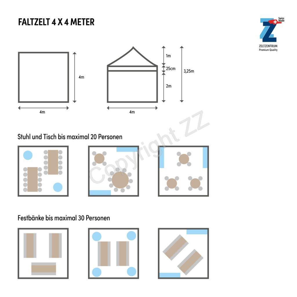 Bestuhlungsplan 4x4m Faltzelte