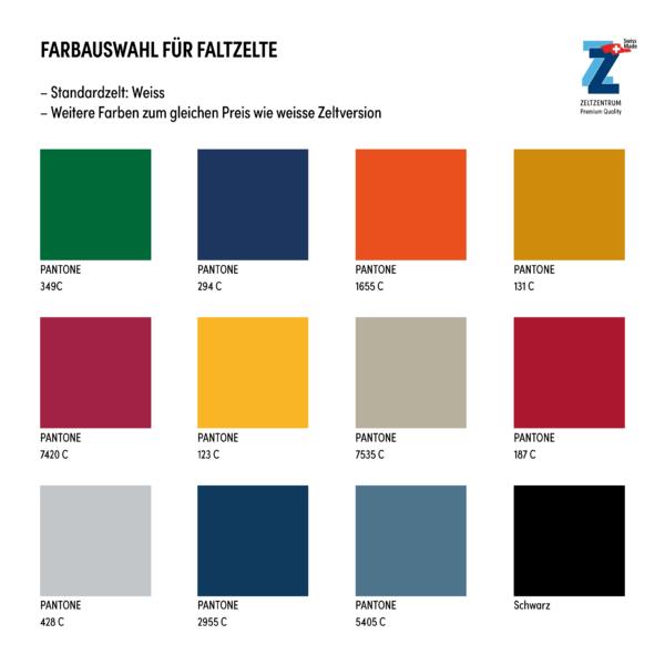 Faltzelte Farbauswahl mit Logo