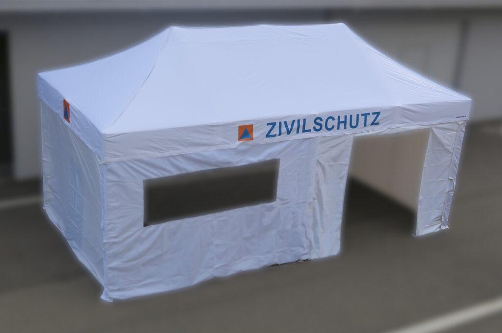 ZSO Zivilschutz Faltzelt 3 x 6 Meter mit Seitenwänden