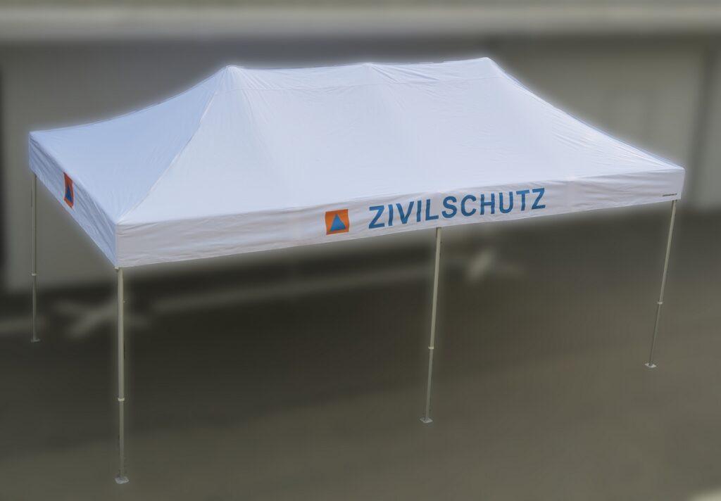 ZSO Zivilschutz Faltzelt 3 x 6 Meter ohne Seitenwänden Rescue-Zelt